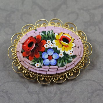 Vintage Italian Micro Mosaic Floral Pink Border Gold Filigree Oval Framed Brooch