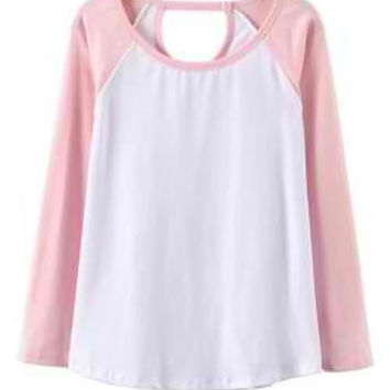 Pink and White Cut Out Long Sleeve T-shirt