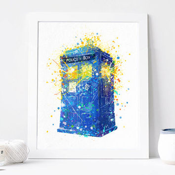 Tardis Print, Doctor Who - Tardis Watercolor, Art Print, Home Wall decor, Watercolor Print, Doctor Who Aquarelle Tardis Poster