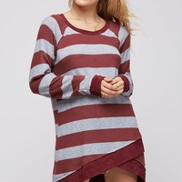 Striped Winter Tunic - Burgundy