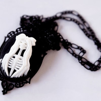 Black Tim Burton Skeleton Girl Necklace