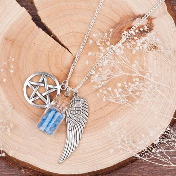 DoreenBeads Handmade Movie Supernatural Pentacle Angel Wings Wishing Bottle Guardian Series Silver Color Necklace Jewelry, 1 Pc