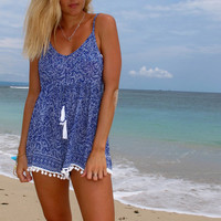 Pom Pom Jumpsuit / Playsuit, Short Beach Dress, Cobalt Blue Mini Leaf Print Skort Shorts