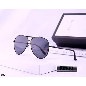 GUCCI 2019 new women's retro metal large frame color film polarized sunglasses #6