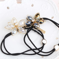1pc Women scrunchy Rhinestone Flower Shaped With Pendant Hair Accessories Lady Hair Gum Headwear Girls Elastic Hair Band