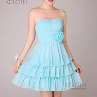 A-line Sweetheart with Flower Ruching Knee-length Chiffon Bridesmaid Dress/ Prom/Evening/Party/Homecoming/cocktail /Formal Dress