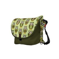 Green Patterned Owls Dots and Stripes Messenger Bag from Zazzle.com