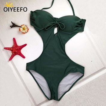 One Piece Bathing Suit Oiyeefo Underwire Thick Pad Push Up Swimsuit  Bathing Suits Women Monokini 2018 New Green Swimwear Female Plavky Damy KO_9_1