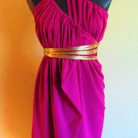 Short Knit Magenta Color SACK Dress