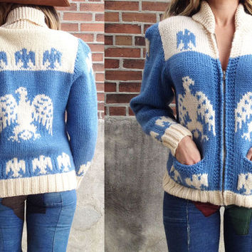 Vintage 1950s 1960s Southwestern ThunderbirdCowichan Curling Sweater || Native Indian 50s 60s Sweater Ladies Size Small Medium Baby Blue