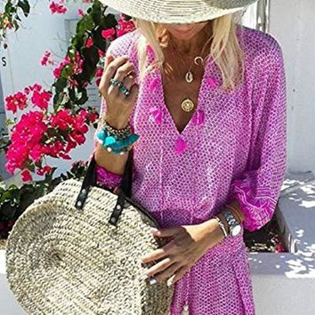 Womens Crochet Tassel Bikini Beach Cover Up