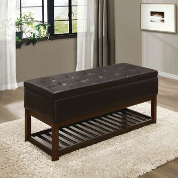 Wichfield collection warm brown cherry finish wood and brown bycast vinyl upholstered storage ottoman bench with tufted seat
