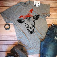 Cow Red Headband, T-Shirt (Small-3XL)