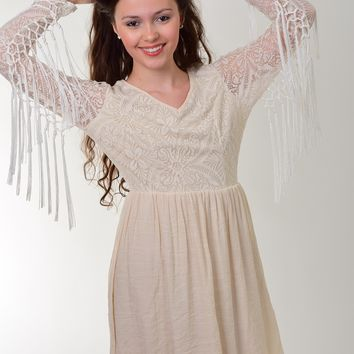 Miin Ivory Dress with Fringe on Sleeves