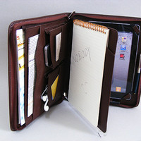 iPad 2 Briefcase for Apple iPad 3 Portfolio Case with iPhone 5 Pocket with inside Writepad Loose-leaf for Letter Size Notebook