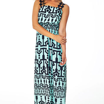 Black Mint Green Tribal Print Maxi Dress