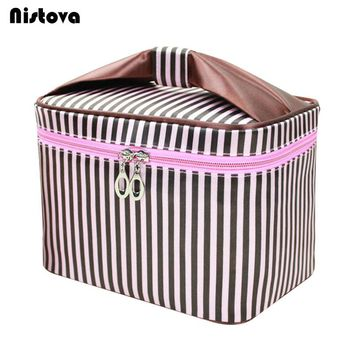Striped Cosmetic Bag Professional Makeup Bag Women Fashion Travel Make Up Necessaries Organizer Zipper Toiletry Kit Case Pouch
