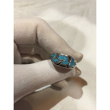 Vintage 1980's Native American Style Turquoise Stone inlay Men's Hawk Feather Ring
