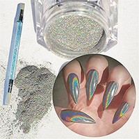 NICOLE DIARY 1g/Box Holographic Rainbow Laser Glitter Powders with Silicone Brush Manicure Nail Art Decoration