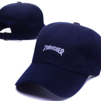 Hot Sale Navy Blue Thrasher Embroidery Baseball Cap Hats