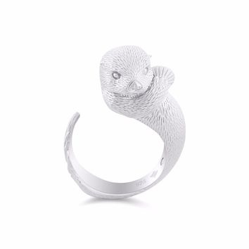 Precious Clam Sea Otter Diamond Silver Ring