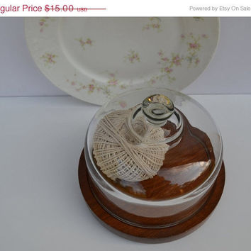 ON SALE Wood Cheese Tray Platter Vintage Wood Cheese Tray with Glass Dome