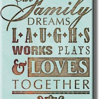 Family Together Motivational Note Picture on Acrylic , Wall Art Décor, Ready to Hang!