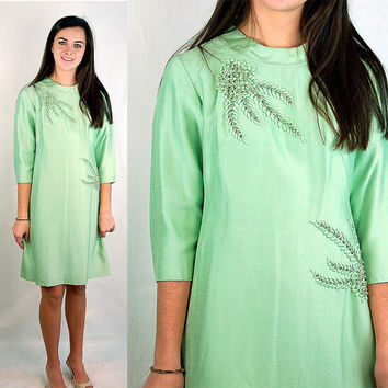 Vintage 60s silk dress sea foam green silk dress by vintagerunway