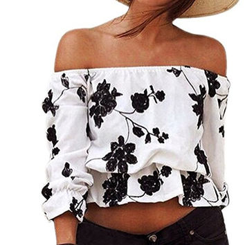 EFINNY Women Floral Printed Off Shoulder 3/4 Sleeve Tunic Top Shirt Blouse