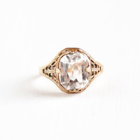Vintage Art Deco Simulated White Topaz Filigree Ring - 1930s Size 7.5 14k Rold Gold Plated Hallmarked Clark & Coombs Clear Glass Jewelry