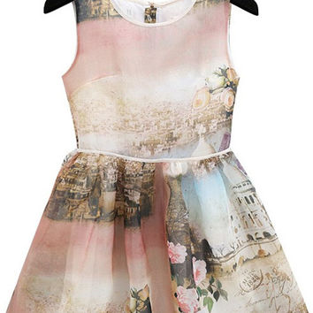 Multi Color Flower Print Organza Sun Dress