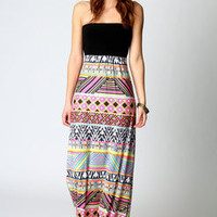 Olivia Aztec Printed Bandeau Maxi Dress
