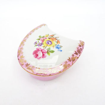 Vintage  Horseshoe Shaped  China Trinket Box, Pink Horseshoe Jewelry Box, UK Seller