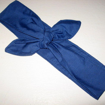Head Band / Rockabilly / Pinup / Hair Wrap/ Hair Scarf / Fabric Headband / Head Band / Dread Wrap / Navy / Gypsy Bandana / Women and Teens