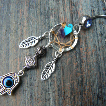 hamsa hand dreamcatcher belly ring protection fatima hand  hamsa hand in belly dancer indie gypsy hippie morrocan boho and hipster style