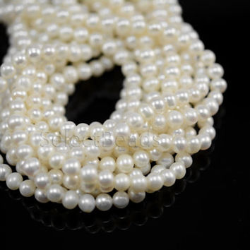 small freshwater pearls - white freshwater pearls - genuine freshwater pearls - freshwater pearls wholesale - near round pearl -5-6mm-15inch