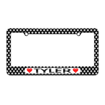Tyler Love with Hearts - License Plate Tag Frame - Polka Dots Design