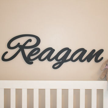 "Extra large Wooden name sign 11 - 12 "" letters Baby Name Plaque  PAINTED nursery name g nursery decor wooden wall art, above a crib"
