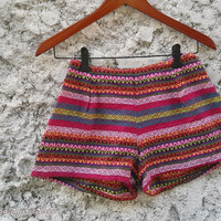 Tribal Shorts Boho Ikat Print Aztec Stripes Hippies Clothing Ethnic Bohemian Woven Handwoven Cute Unique Women Clothes Beach Summer in Pink