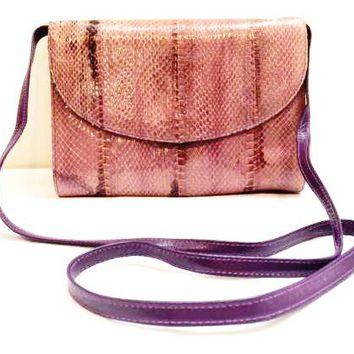 Giani Bernini Bag Genuine Leather Snake Clutch Purple Pink Handbag Snakeskin Vintage Accessory