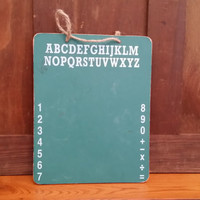 Vintage Green ABC 123 School Chalkboard