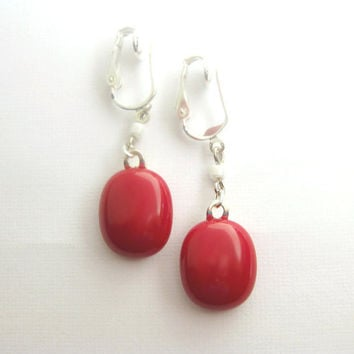 Red Glass Clip Back Earrings Cherry Red 1226 by mysassyglass