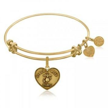 ac NOVQ2A Expandable Bangle in Yellow Tone Brass with U.S. Marine Corps Proud Wife Symbol