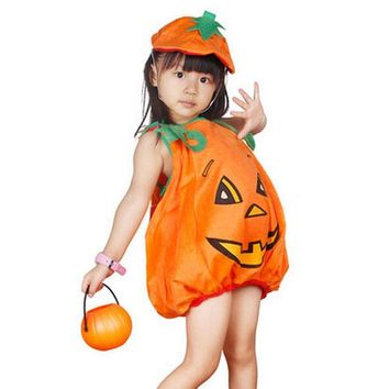 Flannel Halloween Costumes for Kids Children Carnival Party Outfit Pumpkin Costume Outfit Clothes for Boy Girl 2-piece Set