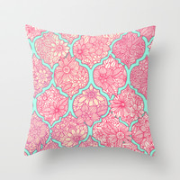 Moroccan Floral Lattice Arrangement in Pinks Throw Pillow by micklyn | Society6