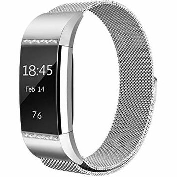 hooroor Fitbit Charge 2 Bands Small Large Women Men, Milanese Loop Stainless Steel Metal Sport Replacement Bracelet Wristbands Strap Magnet Lock Fit bit Charge2 Fitness Tracker
