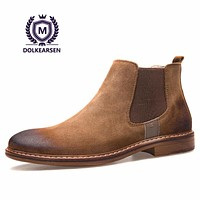 DOLKEARSEN High Chelsea Boots Men Cow Suede Pointed Toe Kanye West Boots Fashion Retro Real Leather Boots Men D160503