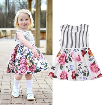 Sleeveless Kids Baby Girls Floral Party Princess Tunic Dresses Sundress Clothes
