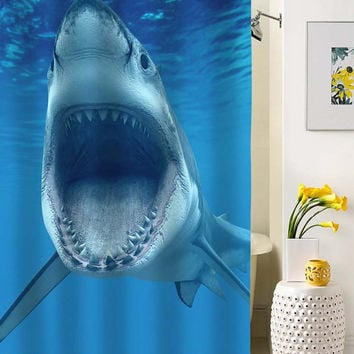 Shark shower curtain special custom shower curtains that will make your bathroom adorable