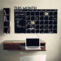 Day-First™ Home & Office Decor Chalk Board Blackboard Monthly Calendar Vinyl Wall Sticker (Size: 100cm*60cm) [8070934023]